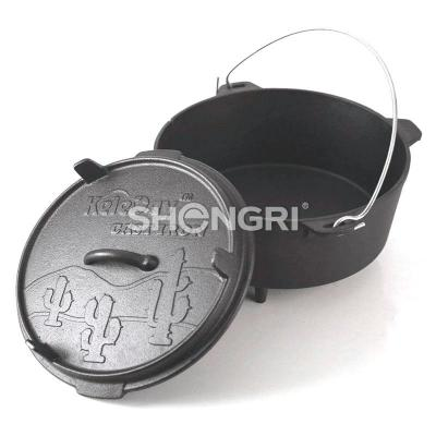 Camping Cast Iron Dutch Oven with Three Legs